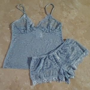 In Bloom Blue Lace Cami & Tap Pant Sleep Set S